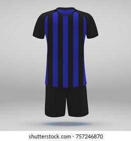 football kit of Inter Milan, t-shirt template for soccer jersey. Vector illustration