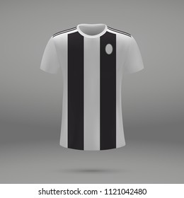 football kit Juventus 2018, shirt template for soccer jersey. Vector illustration