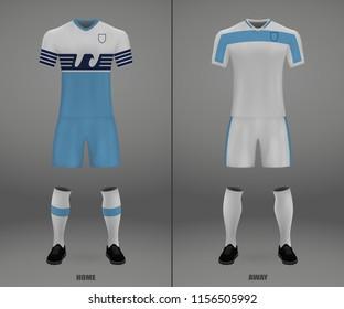 football kit Lazio 2018-19, shirt template for soccer jersey. Vector illustration
