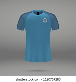 football kit Manchester City 2018, shirt template for soccer jersey. Vector illustration