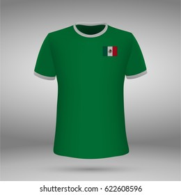 football kit of Mexico with flag, t-shirt template for soccer jersey. Vector illustration