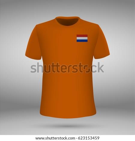 d4a6db3dd Football Kit Netherlands Flag Tshirt Template Stock Vector (Royalty ...