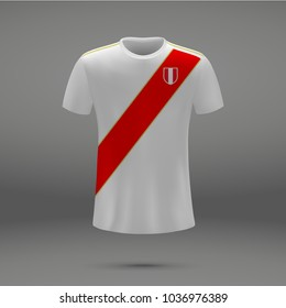 football kit of Peru 2018, shirt template for soccer jersey. Vector illustration