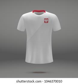 football kit of Poland 2018, shirt template for soccer jersey. Vector illustration