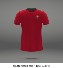 football kit of Portugal 2018, shirt template for soccer jersey. Vector illustration