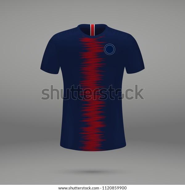 finest selection 4101d 8ef55 Football Kit Psg 2018 Shirt Template Stock Vector (Royalty ...