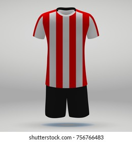 football kit of PSV Eindhoven, t-shirt template for soccer jersey. Vector illustration