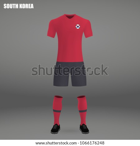 b1798ef60a7 football kit of South Korea 2018, t-shirt template for soccer jersey. Vector