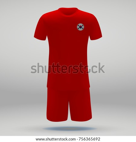 009b0c18c5f football kit of South Korea with flag, t-shirt template for soccer jersey.  Vector illustration - Vector