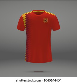 football kit of Spain 2018, shirt template for soccer jersey. Vector illustration