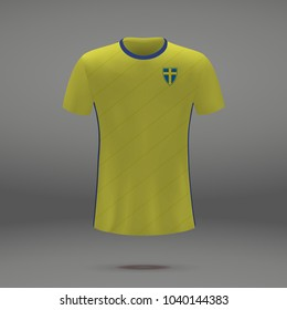 football kit of Sweden 2018, shirt template for soccer jersey. Vector illustration
