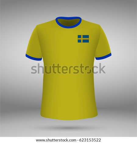 Football Kit Sweden Flag Tshirt Template Stock Vector Royalty Free