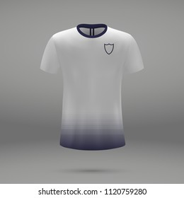 football kit Tottenham Hotspur 2018, shirt template for soccer jersey. Vector illustration