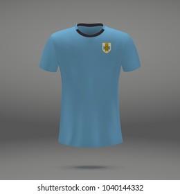 football kit of Uruguay 2018, shirt template for soccer jersey. Vector illustration