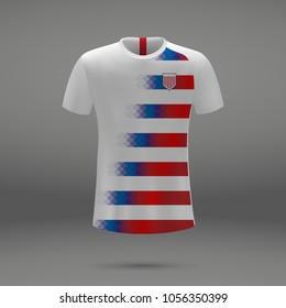 football kit of USA 2018, shirt template for soccer jersey. Vector illustration