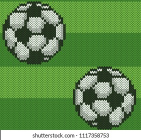 Football knitted jacquard seamless pattern. Sport soccer ball on green field background. Bright vector illustration.