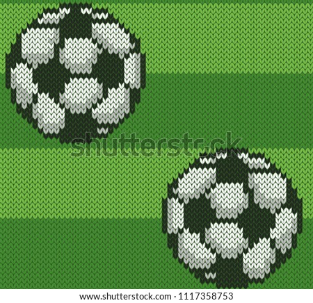 490737659d2 Football knitted jacquard seamless pattern. Sport soccer ball on green  field background. Bright vector