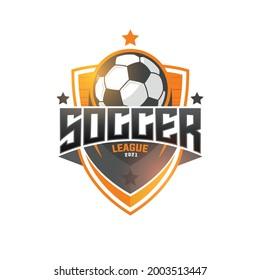 Football league logo, labels, emblems and design elements for sport team 2021. Vector illustration.