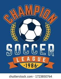 football league. soccer championship. boys vector graphic tees vector illustration design