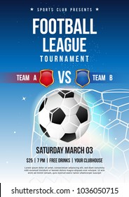 Football league tournament poster vector illustration, Soccer ball in goal net with blue sky.