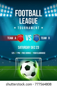 Football league tournament poster vector illustration, Ball in arena field with stadium lights