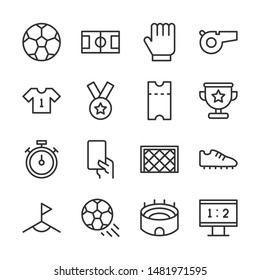 Football line icons set vector illustration. Contains such icon as ball, field, stadium, score, trophy and more. Editable stroke