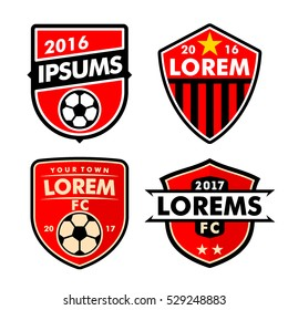 Football logo badges set isolated in white background. Good for football team and other sports team.