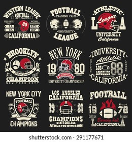 Football logo set, Athletic T-shirt fashion design, Sport Typography, Vintage Print for sportswear apparel - vector illustration