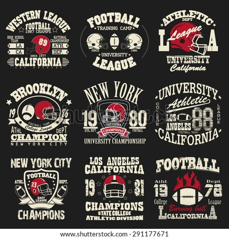 b2030b4d7 Football logo set, Athletic T-shirt fashion design, Sport Typography,  Vintage Print