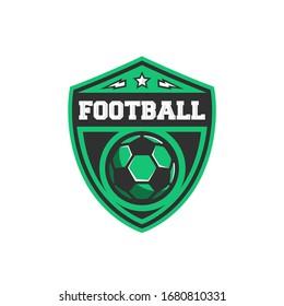 Football logo with sport ball, star, thunderbolt icons and shield backgroud. Modern design template. Football design for logo, label, badge, poster. Vector illustration