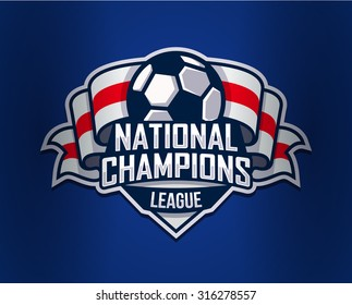 Football Logo Template. Vector Illustration isolated on blue Background. Soccer. Football team images