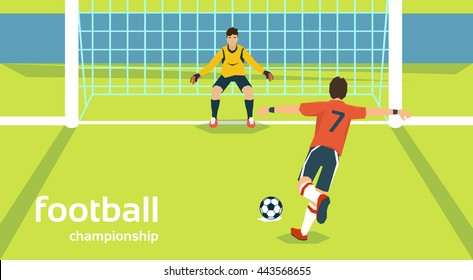 Football Match Goalkeeper Protecting Gates Player Kick Ball Flat Vector Illustration