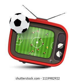 Football Match on TV. Vector Soccer Symbol with Ball.