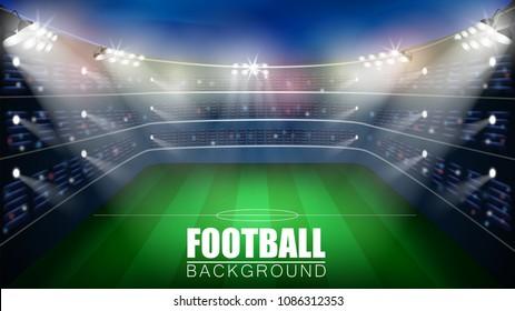 Football match. World championship stadium 3d vector background. Soccer poster template.
