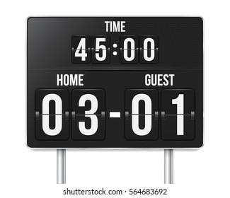 Football mechanical scoreboard with time and result display. Sport template for your design. Vector illustration.