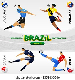 Football national team players in the form of national teams. National flags in the form of soccer balls. Group tournament of the American Football Championship in Brazil. CONMEBOL Copa America 2019.