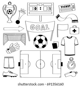 Football objects doodle set. Sport outline elements, soccer coloring page.