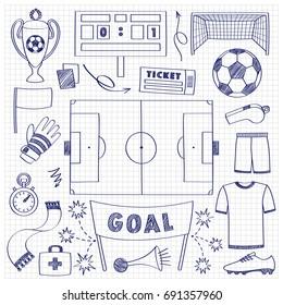 Football objects doodle set. Sport outline elements, soccer sketch on squared paper.