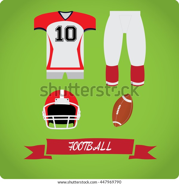 Football objects, Sport uniform, Vector illustration