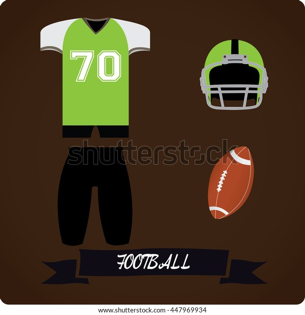 Football objects, Sport uniform, Vector illustration
