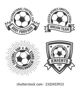 Football old school logo template with classic soccer ball and heraldic elements. Monochrome retro style.