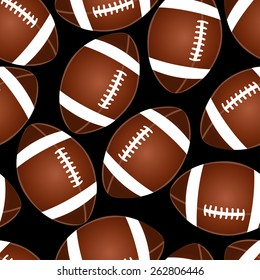 Football on black seamless pattern .