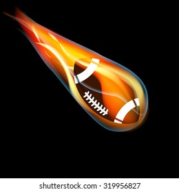 Football on fire on black background