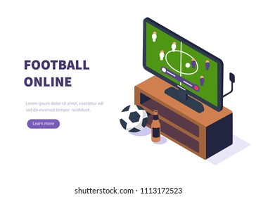 Football  online concept. Can use for web banner, infographics, hero images. Flat isometric vector illustration isolated on white background.