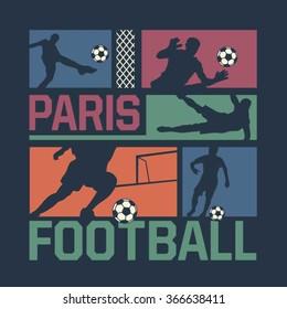 Football Paris typography, t-shirt graphics, vectors