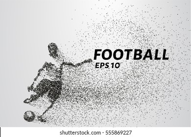 Football of the particles carries in the wind. Silhouette of a football player from circles