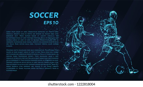 Football of particles on a dark background. Football players consists of geometric shapes. Vector illustration