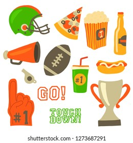 Football party vector icon set. Super bowl celebration. American football vintage retro style. Sport game Helmet, award, cup, trophy, pizza slice, football, popcorn, beer bottle, megaphone, foam hand