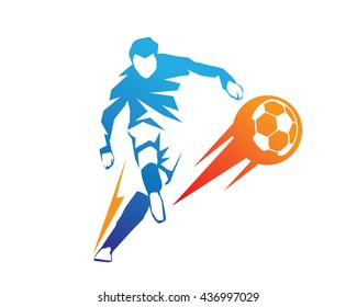 Football Player In Action Logo - Ball On Fire Penalty Kick