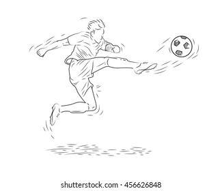 Football Player in Action, Football or Soccer Sport Motion, Hand Drawn Sketch